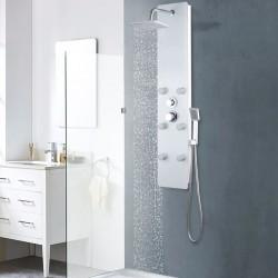 stradeXL Panel prysznicowy, szkło, 25 x 44,6 x 130 cm, biały