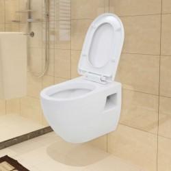 stradeXL Toaleta wisząca, ceramiczna, biała