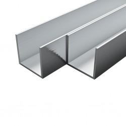 stradeXL Aluminiowe profile U-kształtne, 4 szt., 2 m, 10x10x2 mm