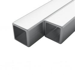 stradeXL Rury ze stali, 2 szt., kwadratowe, V2A, 2 m, 20x20x1,9mm