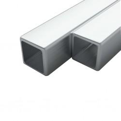 stradeXL Rury ze stali, 2 szt., kwadratowe, V2A, 2 m, 25x25x1,9mm