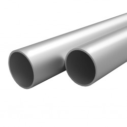 stradeXL Rury aluminiowe, 4 szt., okrągłe, 2 m, Ø25x2mm