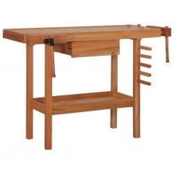stradeXL Stół warsztatowy do stolarki z szufladą i 2 imadłami, drewniany