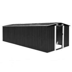stradeXL Szopa ogrodowa, 257x580x181 cm, metal, antracytowa