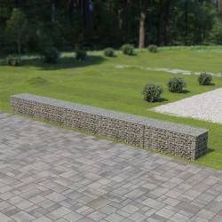 stradeXL Murek gabionowy z pokrywami, galwanizowana stal, 600x50x50 cm