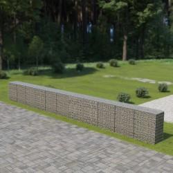 stradeXL Murek gabionowy z pokrywami, galwanizowana stal, 900x50x100 cm