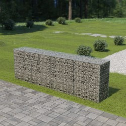 stradeXL Ściana gabionowa z pokrywami, galwanizowana stal, 300x50x100 cm