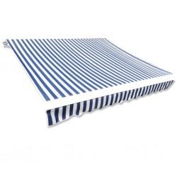 stradeXL Tkanina do markizy, niebiesko-biała, 450 x 300 cm