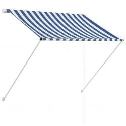 stradeXL Markiza zwijana, 150 x 150 cm, niebiesko-biała