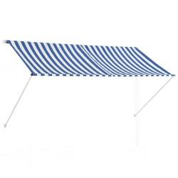 stradeXL Markiza zwijana, 250 x 150 cm, niebiesko-biała