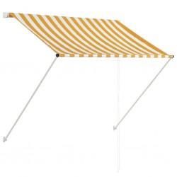 stradeXL Markiza zwijana, 150 x 150 cm, żółto-biała
