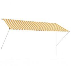 stradeXL Markiza zwijana, 300 x 150 cm, żółto-biała