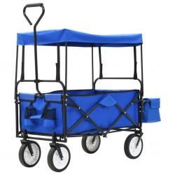 stradeXL Składany wózek ręczny z daszkiem, stalowy, niebieski