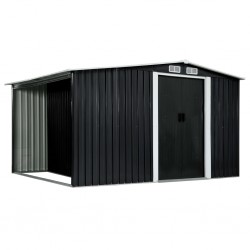 stradeXL Garden Shed with Sliding Doors Anthracite 329.5x131x178 cm Steel
