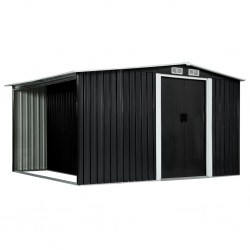 stradeXL Garden Shed with Sliding Doors Anthracite 329.5x205x178 cm Steel