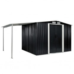stradeXL Garden Shed with Sliding Doors Anthracite 386x205x178 cm Steel