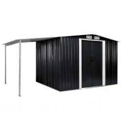 stradeXL Szopa ogrodowa z drzwiami przesuwnymi, antracyt, 386x205x178 cm