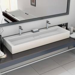 stradeXL Umywalka, 120x46x11 cm, kompozyt mineralny/marmurowy, biała