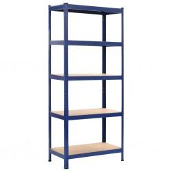 stradeXL Regał magazynowy, niebieski, 80x40x180 cm, stal i MDF