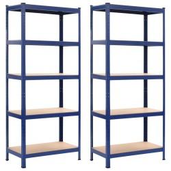 stradeXL Regały magazynowe, 2 szt., niebieskie, 80x40x180 cm, stal i MDF
