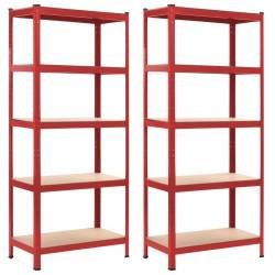 stradeXL Regały magazynowe, 2 szt., czerwone, 80x40x180 cm, stal i MDF