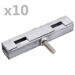 stradeXL Łączniki U do paneli ogrodzeniowych, 10 zestawów, srebrne
