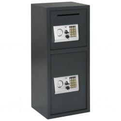 stradeXL Sejf cyfrowy z podwójnymi drzwiami, ciemnoszary, 35x31x80 cm