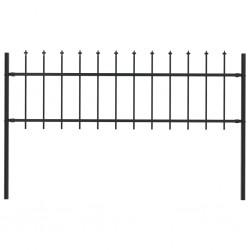 stradeXL Panel ogrodzeniowy z grotami, 1,7 x 0,6 m, czarny