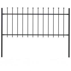 stradeXL Panel ogrodzeniowy z grotami, stal, 1,7 x 0,8 m, czarny