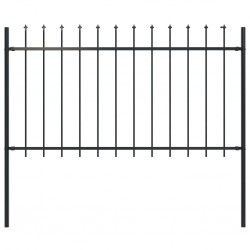 stradeXL Panele ogrodzeniowe z grotami, stal, 1,7 x 1 m, czarne