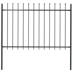 stradeXL Panele ogrodzeniowe z grotami, stal, 1,7 x 1,2 m, czarne