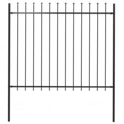 stradeXL Panel ogrodzeniowy z grotami, stal, 1,7 x 1,5 m, czarny
