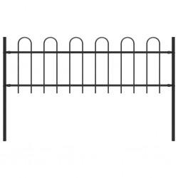 stradeXL Panel ogrodzeniowy z zaokrąglonymi końcami, 1,7 x 0,6 m, czarny