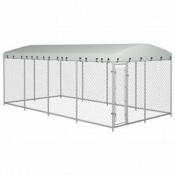 stradeXL Kojec dla psa z zadaszeniem, 8 x 4 x 2 m