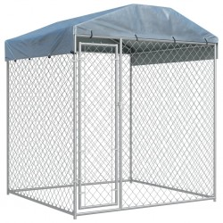 stradeXL Outdoor Dog Kennel with Canopy Top 193x193x225 cm