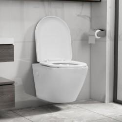 stradeXL Wisząca toaleta bez kołnierza, ceramiczna, biała