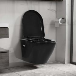 stradeXL Wisząca toaleta bez kołnierza, ceramiczna, czarna