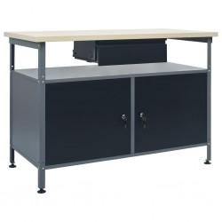 stradeXL Stół roboczy, czarny, 120 x 60 x 85 cm, stal