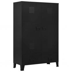 stradeXL Szafa w stylu industrialnym, czarna, 90x40x140 cm, stal