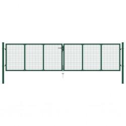 stradeXL Brama ogrodzeniowa z siatki, stalowa, 400 x 125 cm, zielona