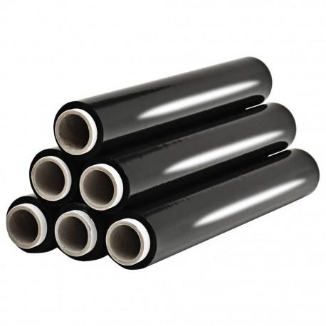 stradeXL Folia na palety, 6 rolek, czarna, 23 µm, 624 m