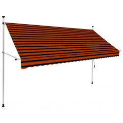 stradeXL Manual Retractable Awning 300 cm Orange and Brown