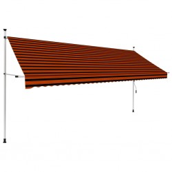 stradeXL Manual Retractable Awning 400 cm Orange and Brown