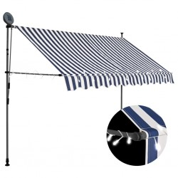 stradeXL Manual Retractable Awning with LED 250 cm Blue and White