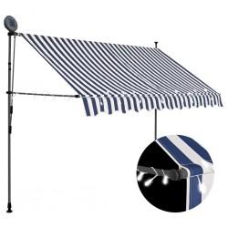 stradeXL Ręcznie zwijana markiza z LED, 250 cm, niebiesko-biała