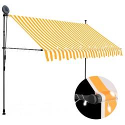 stradeXL Ręcznie zwijana markiza z LED, 300 cm, biało-pomarańczowa