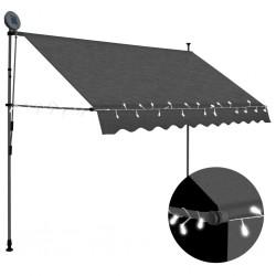 stradeXL Ręcznie zwijana markiza z LED, 300 cm, antracytowa