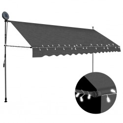 stradeXL Manual Retractable Awning with LED 350 cm Anthracite