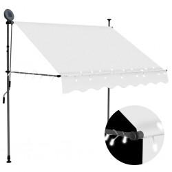 stradeXL Ręcznie zwijana markiza z LED, 150 cm, kremowa