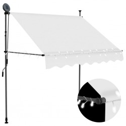 stradeXL Manual Retractable Awning with LED 200 cm Cream